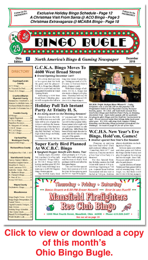 Click here to download a copy of Ohio Bingo Bugle for December 2018